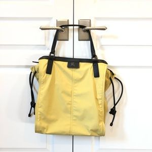Burberry Yellow Nylon Drawstring Buckleigh Tote